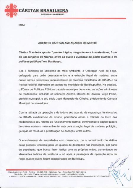Nota assinada pela Coordenação Colegiada da Cáritas Brasileira Regional Maranhão